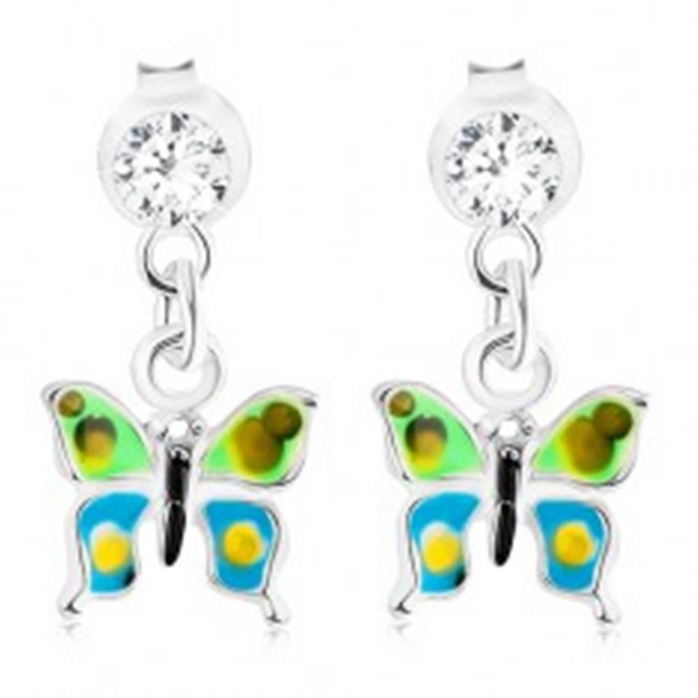 Šperky eshop Strieborné náušnice 925, zeleno-modrá glazúra, bodkovaný motýľ, krištáľ