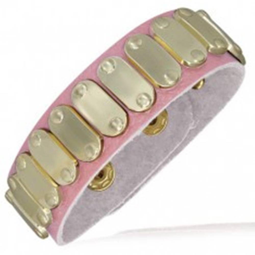 Šperky eshop Svetloružový kožený náramok - ovály zlatej farby