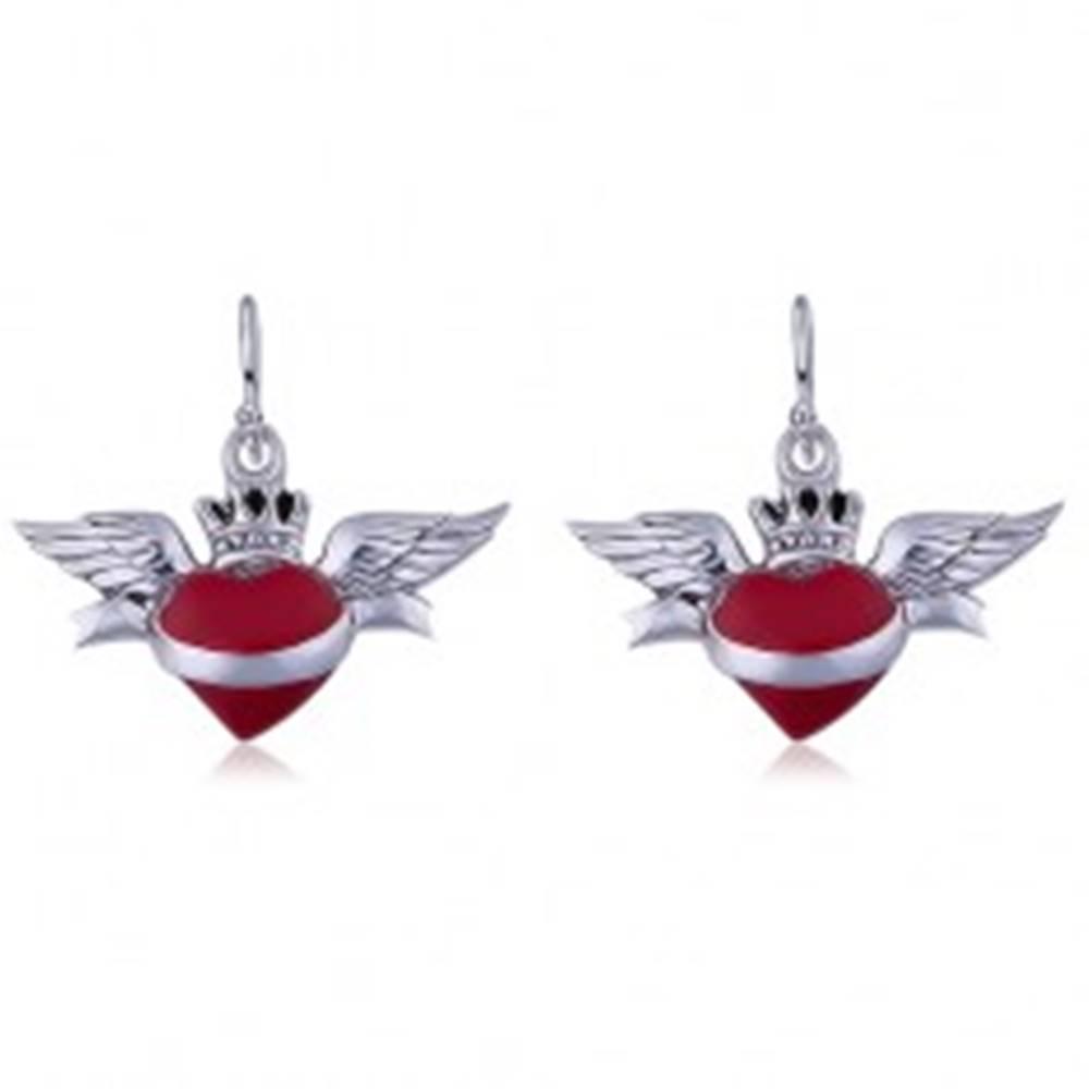 Šperky eshop Visiace náušnice zo striebra 925, červené okrídlené srdce so šerpou