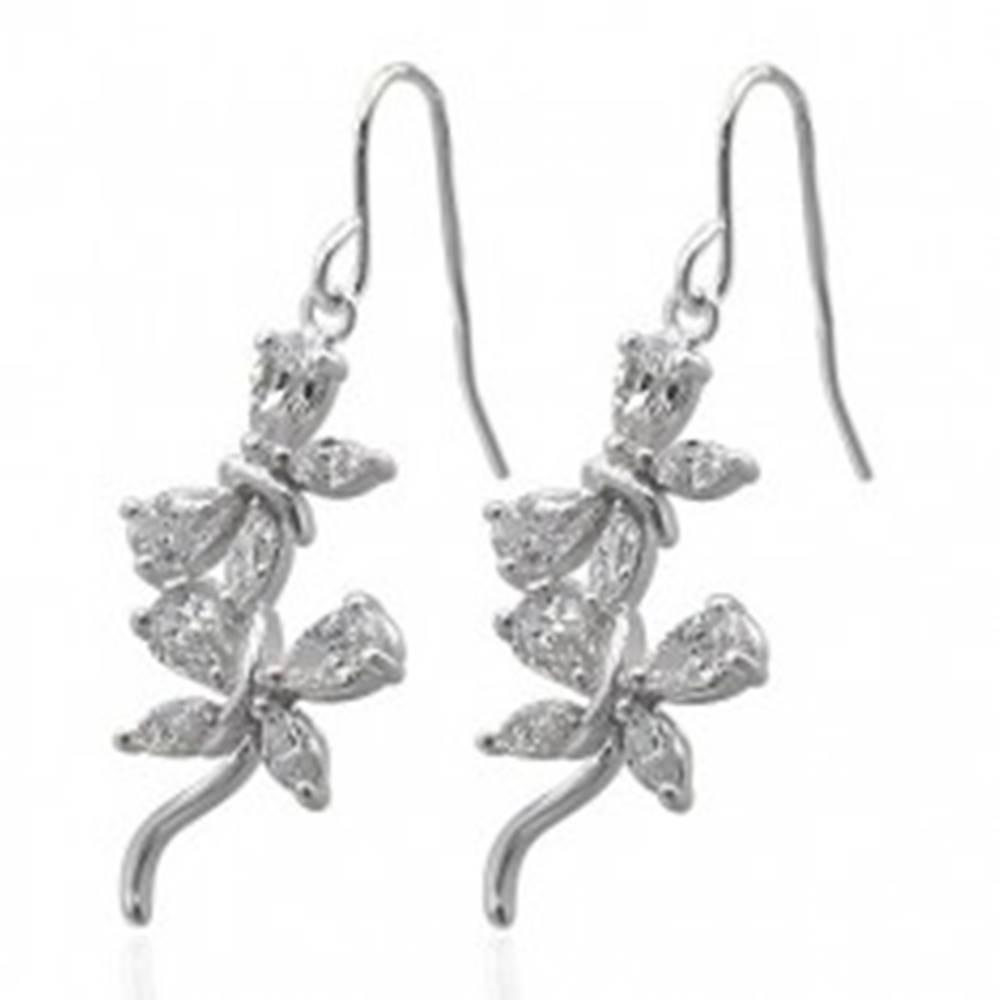 Šperky eshop Visiace zirkónové náušnice - motýliky