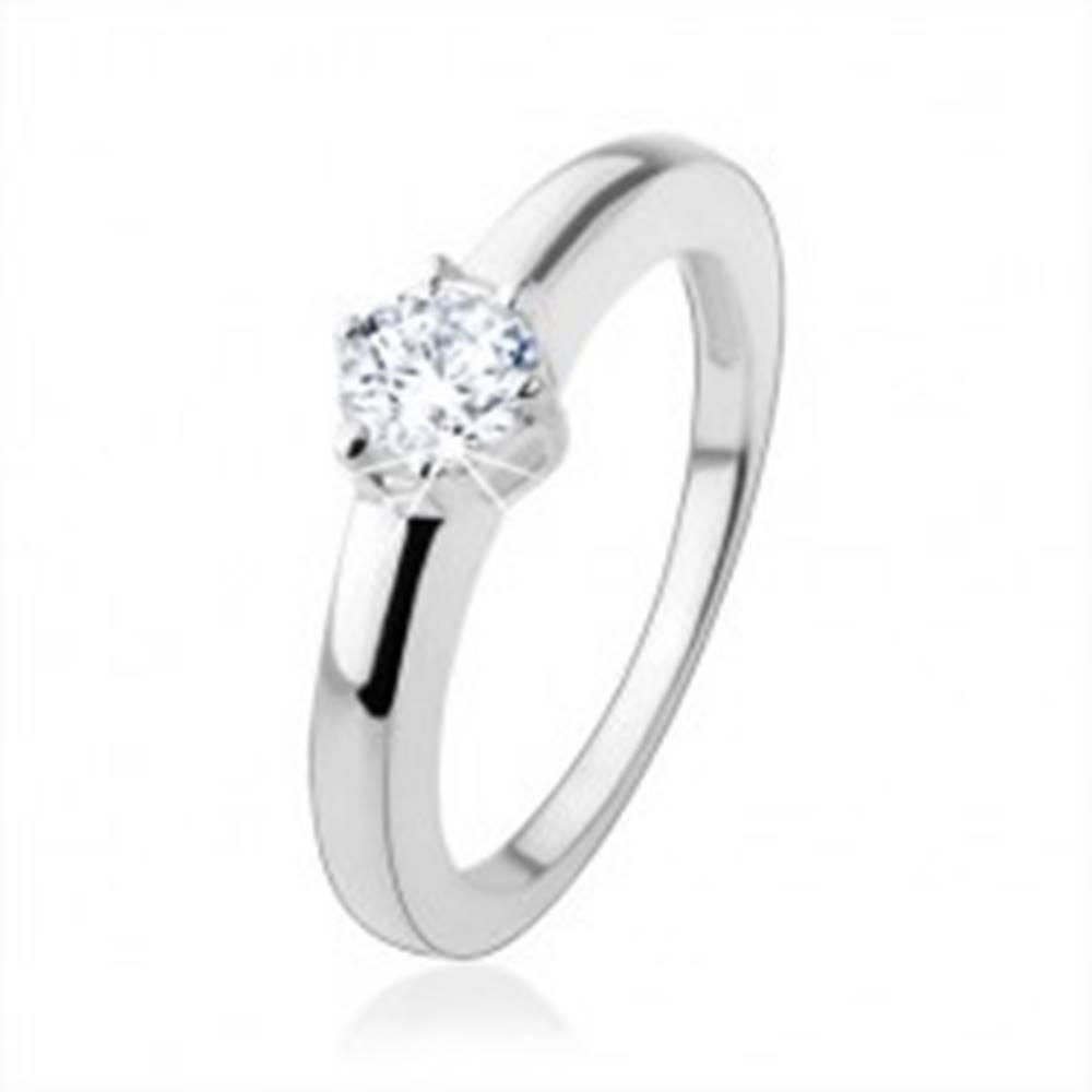 Šperky eshop Zásnubný prsteň zo striebra 925 s okrúhlym brúseným zirkónom - Veľkosť: 49 mm