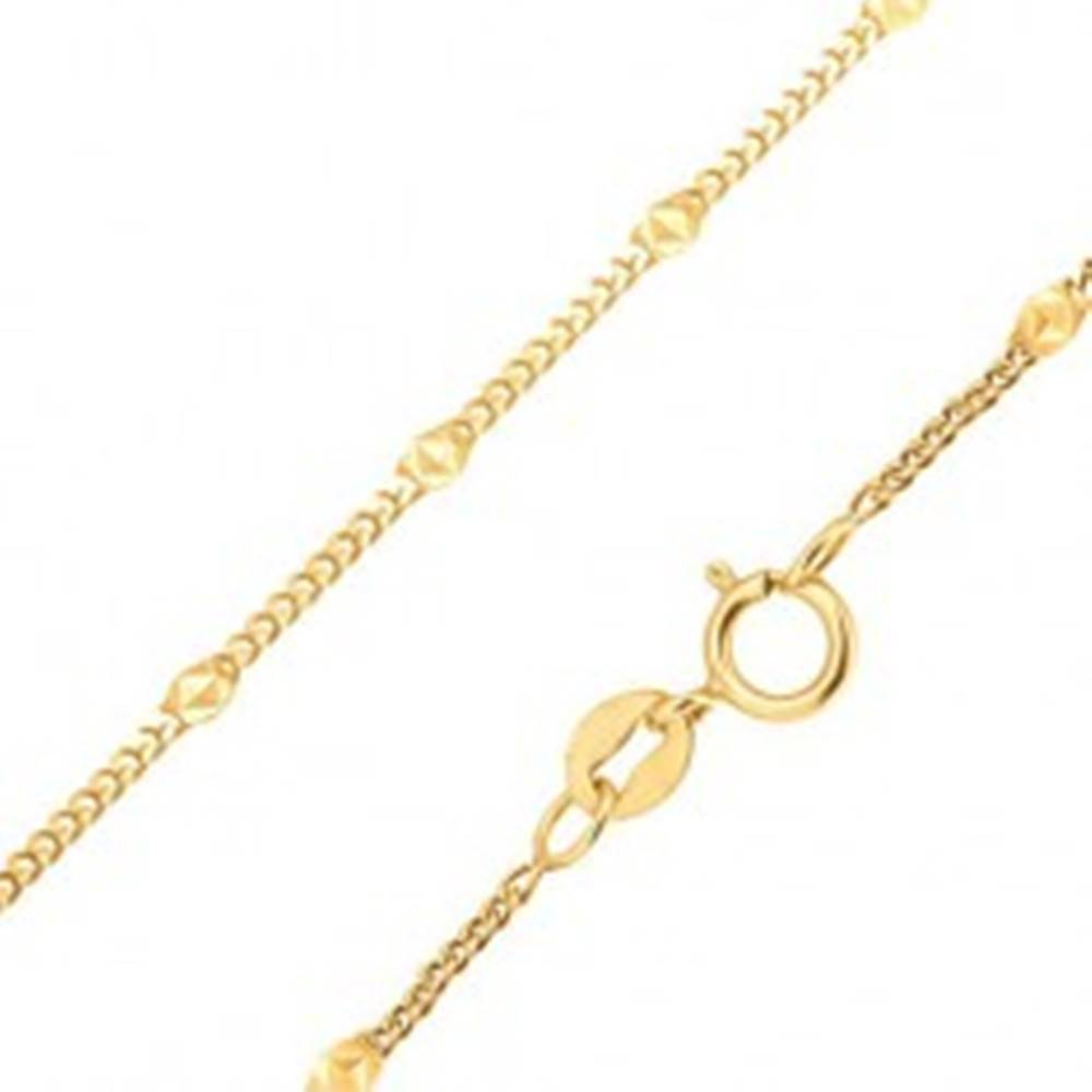 Šperky eshop Zlatá retiazka 585 - drobné zarovnané oválne očká, elipsa s trojuholníkmi - Dĺžka: 425 mm