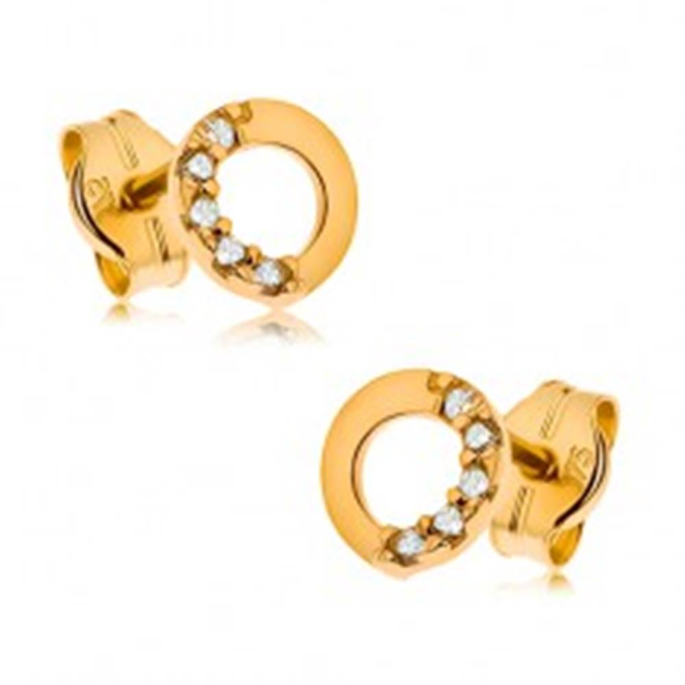 Šperky eshop Zlaté náušnice 375, kontúra kruhu s čírou zirkónovou polovicou, 5 mm