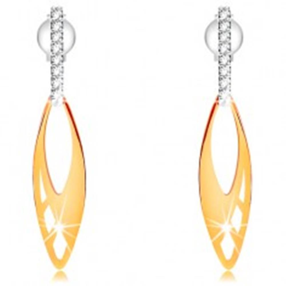 Šperky eshop Zlaté náušnice 585 - ploché zrnko s výrezmi, zvislý pás čírych zirkónikov