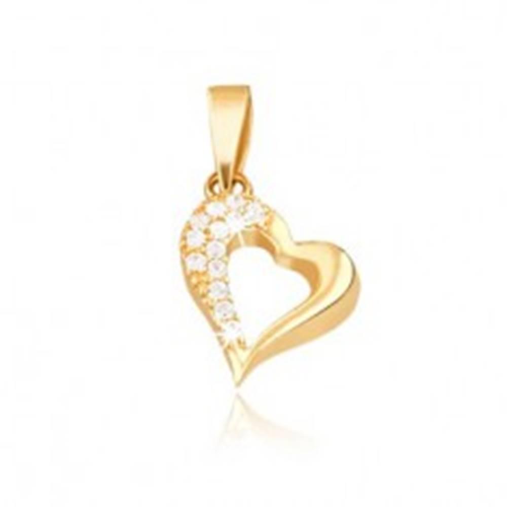 Šperky eshop Zlatý 14K prívesok - kontúra nepravidelného srdca, zirkóny
