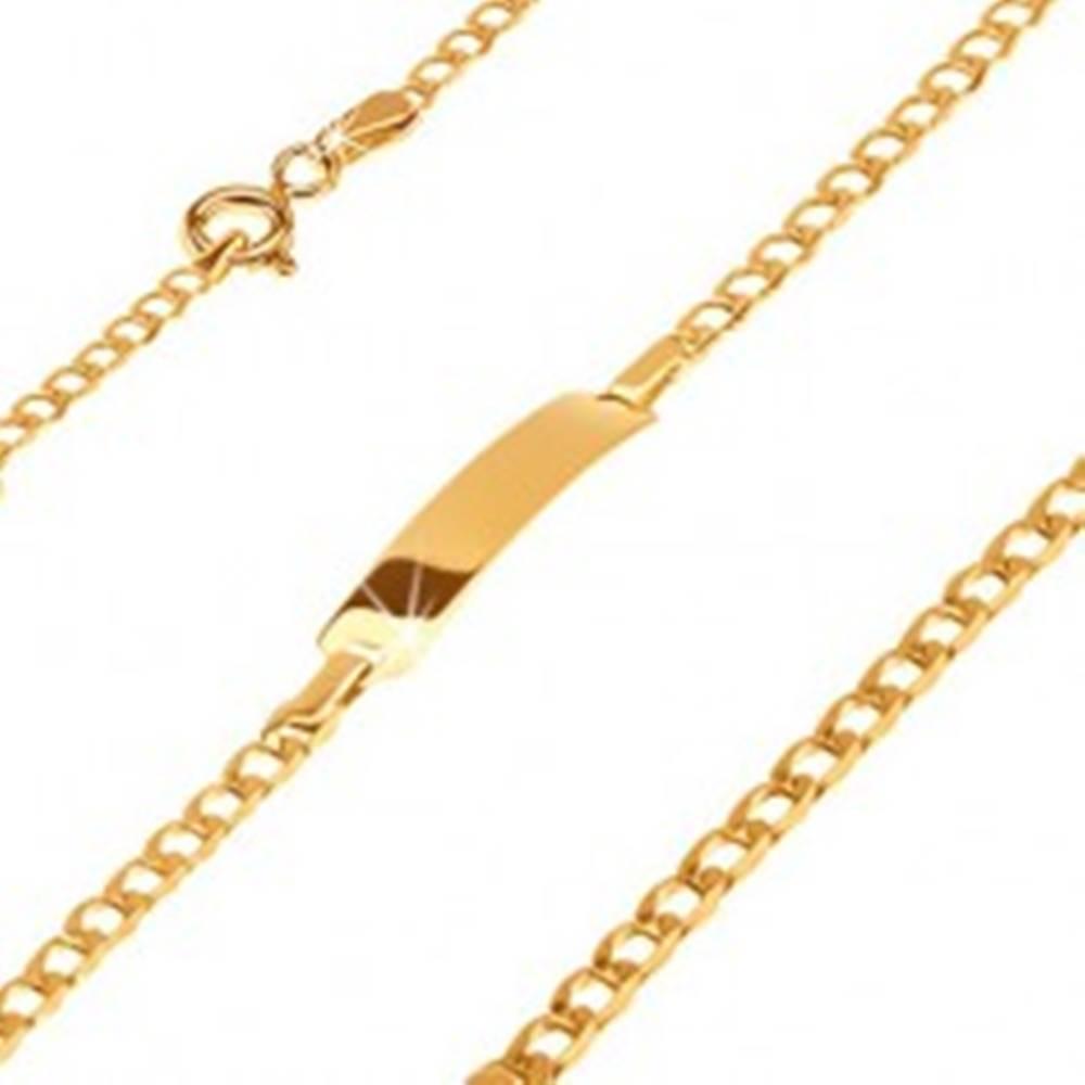 Šperky eshop Zlatý 585 náramok s platničkou - ligotavé drobné oválne očká, 160 mm