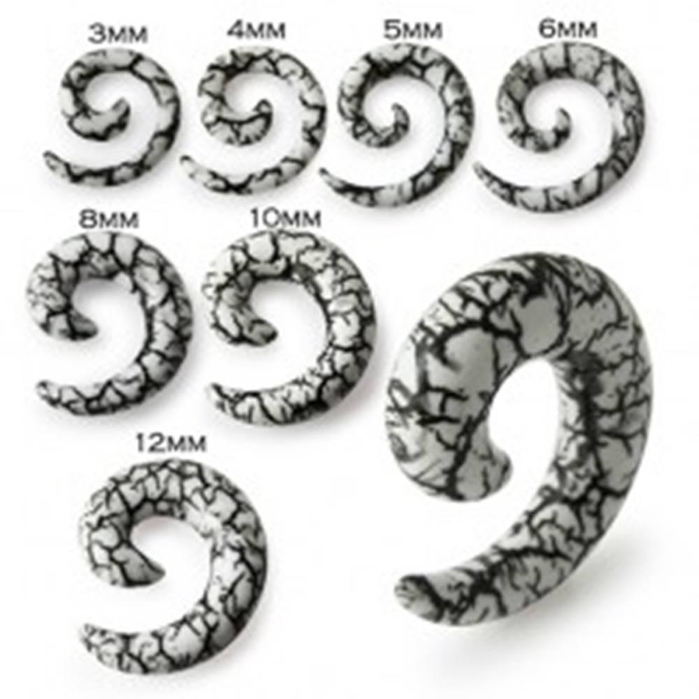 Šperky eshop Biely špirálový expander do ucha s motívom čiernych prasklín - Hrúbka: 10 mm