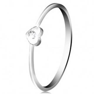 Diamantový prsteň z bieleho 14K zlata - srdiečko s čírym briliantom - Veľkosť: 49 mm