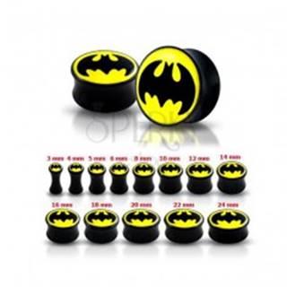 Lesklý čierny plug do ucha - Batman - Hrúbka: 12 mm