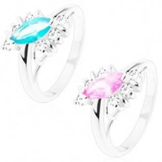 Lesklý prsteň s hladkým povrchom, zirkónové zrno, číre zirkóny, oblúčiky - Veľkosť: 51 mm, Farba: Ružová