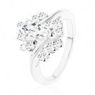 Ligotavý prsteň s úzkymi ramenami, kolmé zrno a zirkóny s čírym odtieňom - Veľkosť: 49 mm