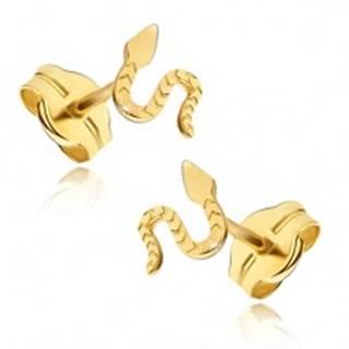 Náušnice zo žltého 14K zlata - lesklý plaziaci sa had, ryhovaný povrch