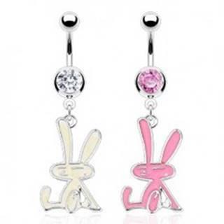 Oceľový piercing do pupka - zajačik - Farba zirkónu: Číra - C