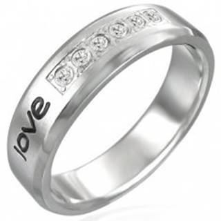 """Oceľový prsteň - nápis """"love"""", šesť zirkónov - Veľkosť: 52 mm"""