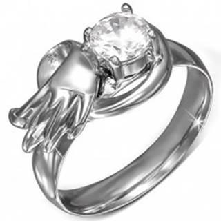 Oceľový prsteň s okrúhlym čírym zirkónom, anjelské krídlo - Veľkosť: 49 mm