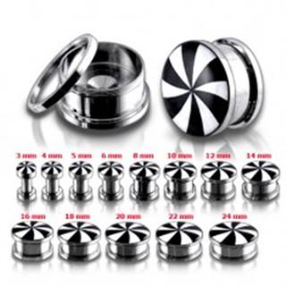 Okrúhly oceľový tunel plug, čierne a biele lúče - Hrúbka: 10 mm