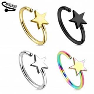 Piercing do nosa z chirurgickej ocele, krúžok s lesklou hviezdičkou - Farba piercing: Čierna