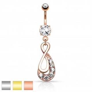 Piercing do pupku z ocele 316L, symbol INFINITY, číre zirkóny - Farba piercing: Medená