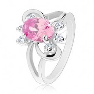 Prsteň s brúseným oválnym zirkónom v ružovej farbe, lesklé oblúčiky - Veľkosť: 52 mm