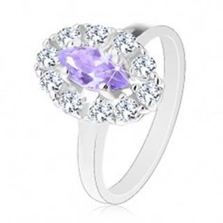 Prsteň v striebornom odtieni, svetlofialové zrnko s čírou zirkónovou obrubou - Veľkosť: 53 mm
