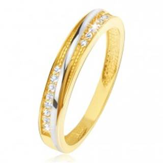 Prsteň v žltom 14K zlate - ozdobné trojuholníkové zárezy, zirkóny - Veľkosť: 48 mm