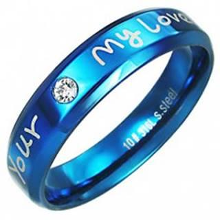 Prsteň z ocele - modrá farba, zaľúbený nápis - Veľkosť: 51 mm