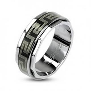 Prsteň z ocele s otáčavým stredom v gréckom štýle - Veľkosť: 58 mm