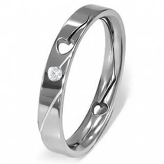 Prsteň z ocele - vyrezané srdiečko, číry zirkón - Veľkosť: 49 mm