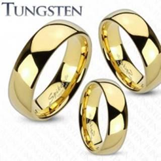 Prsteň z tungstenu zlatej farby, lesklý a hladký povrch, 4 mm - Veľkosť: 49 mm