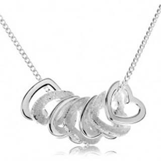 Strieborný náhrdelník 925, kontúry siedmich malých srdiečok