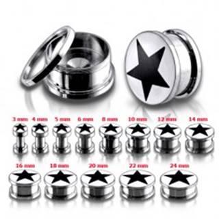 Tunel plug do ucha z chirurgickej ocele, čierna hviezda - Hrúbka: 10 mm