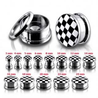 Tunel plug z chirurgickej ocele so šachovnicovým motívom - Hrúbka: 10 mm