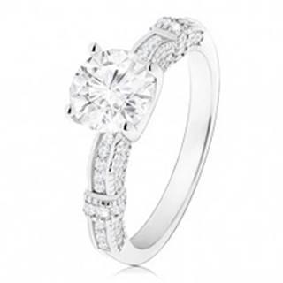 Zásnubný prsteň, striebro 925, zdobené ramená, veľký okrúhly zirkón čírej farby - Veľkosť: 50 mm