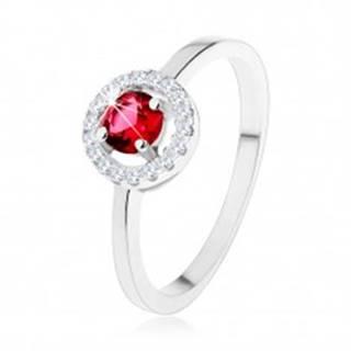 Zásnubný prsteň zo striebra 925, okrúhly červený zirkón, číry lem - Veľkosť: 49 mm