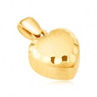 Zlatý prívesok 585 - pravidelné 3D srdce, saténový povrch, ozdobné ryhy