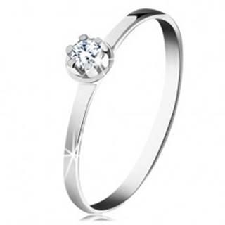 Zlatý prsteň 585 - číry diamant vo vyvýšenom okrúhlom kotlíku, biele zlato - Veľkosť: 49 mm
