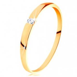Zlatý prsteň 585 - ligotavý diamant čírej farby, hladké vypuklé ramená - Veľkosť: 50 mm