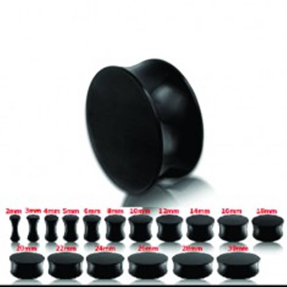 Šperky eshop Čierny lesklý sedlový plug do ucha - Hrúbka: 10 mm