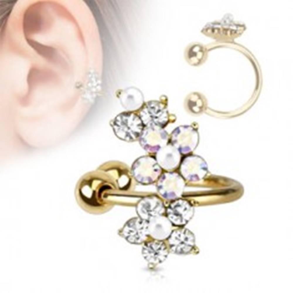 Šperky eshop Falošný piercing do ucha, krúžok z ocele 316L, zlatá farba, zirkónové kvietky