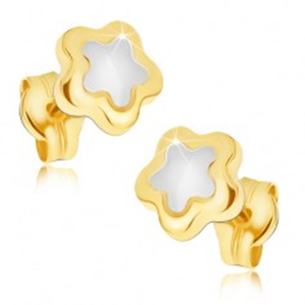 Šperky eshop Lesklé náušnice zo zlata 14K - päťlupeňový dvojfarebný kvietok