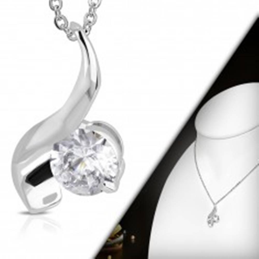 Šperky eshop Náhrdelník s príveskom - okrúhly číry zirkón a lesklá vlnka