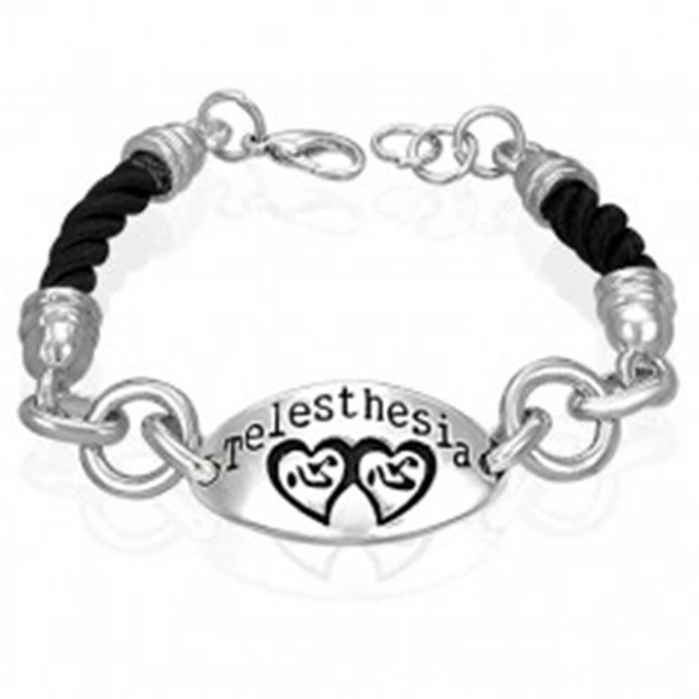 Šperky eshop Náramok na ruku, zakrútená čierna šnúrka, známka so srdciami