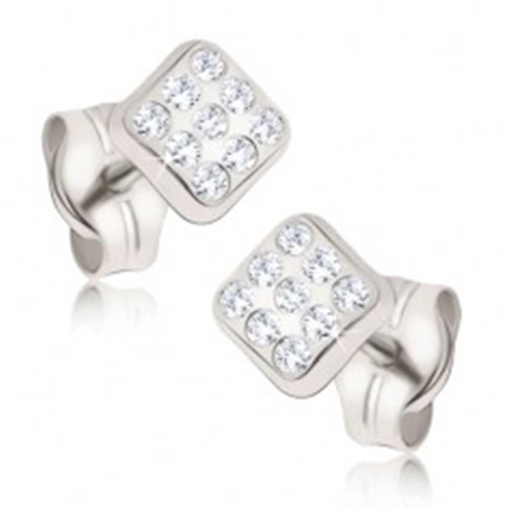 Šperky eshop Náušnice v bielom 14K zlate - ligotavé drobné štvorce, okrúhle zirkóniky