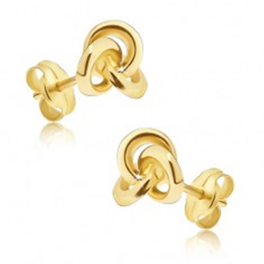 Šperky eshop Náušnice v žltom 14K zlate - tri malé lesklé prepojené prstence
