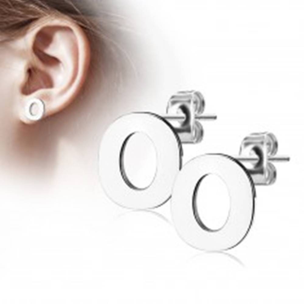 Šperky eshop Náušnice z chirurgickej ocele - veľké tlačené písmenko O, strieborná farba