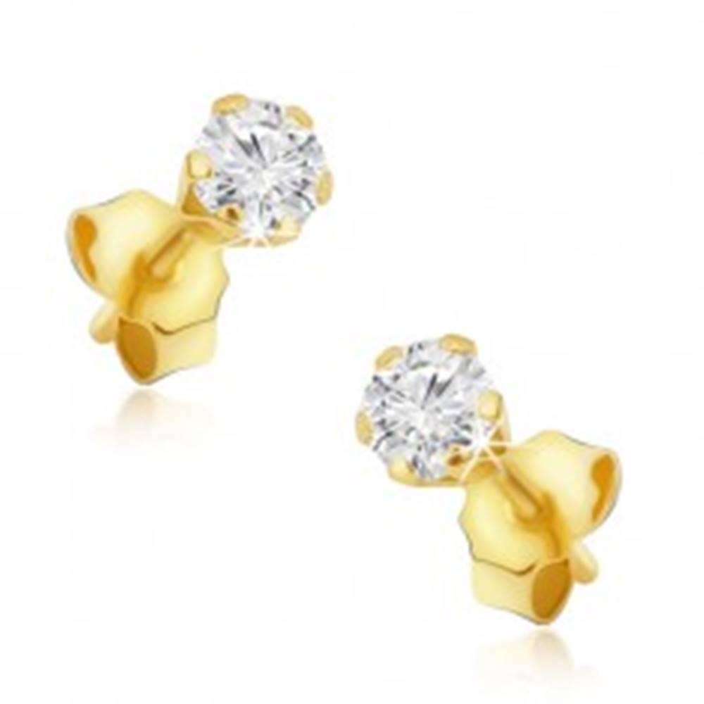 Šperky eshop Náušnice zo zlata 14K - číry okrúhly kamienok, šesťcípy kotlík