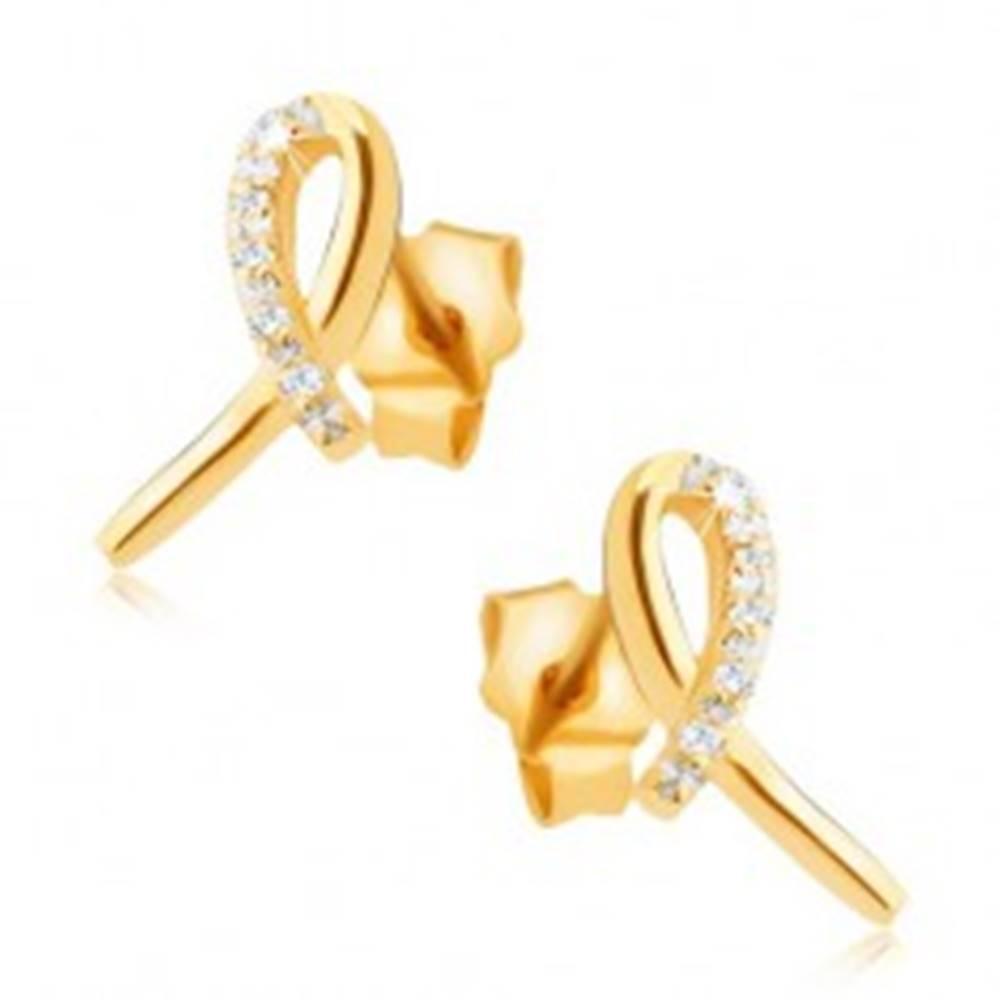 Šperky eshop Náušnice zo žltého 14K zlata - lesklá stužka, oblúk z čírych kamienkov