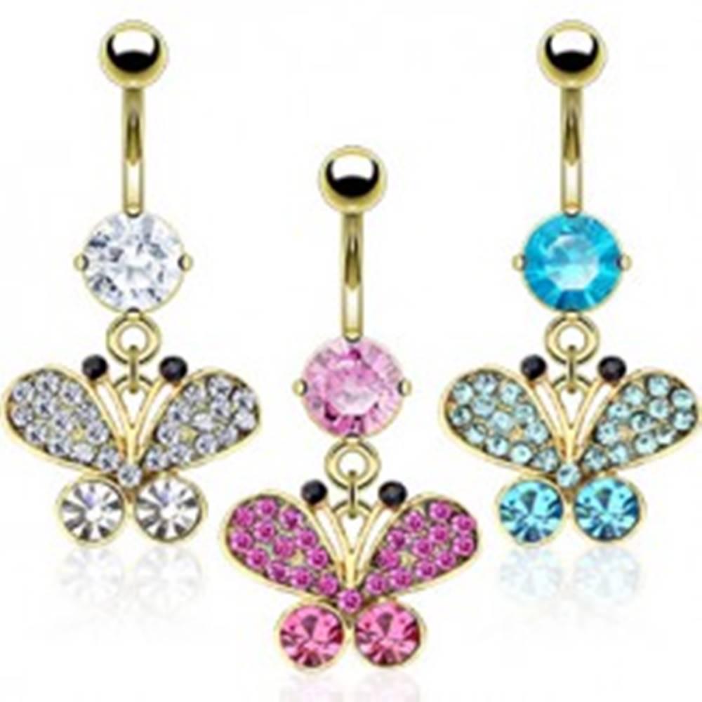 Šperky eshop Oceľový piercing do pupku v zlatej farbe, zirkónový motýľ, čierne konce tykadiel  - Farba zirkónu: Aqua modrá - Q
