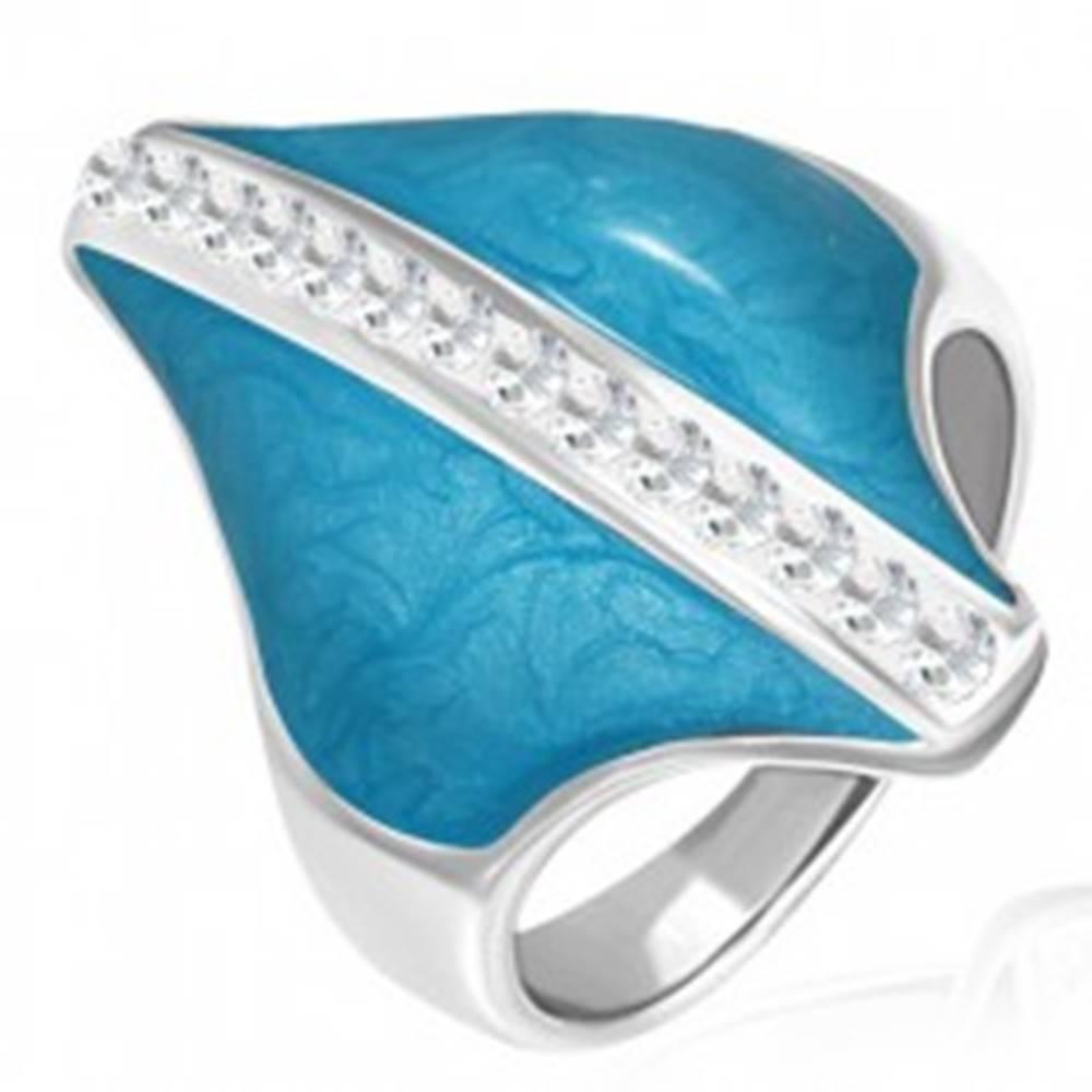 Šperky eshop Oceľový prsteň - modrý kosoštvorec, zirkónový pás - Veľkosť: 54 mm