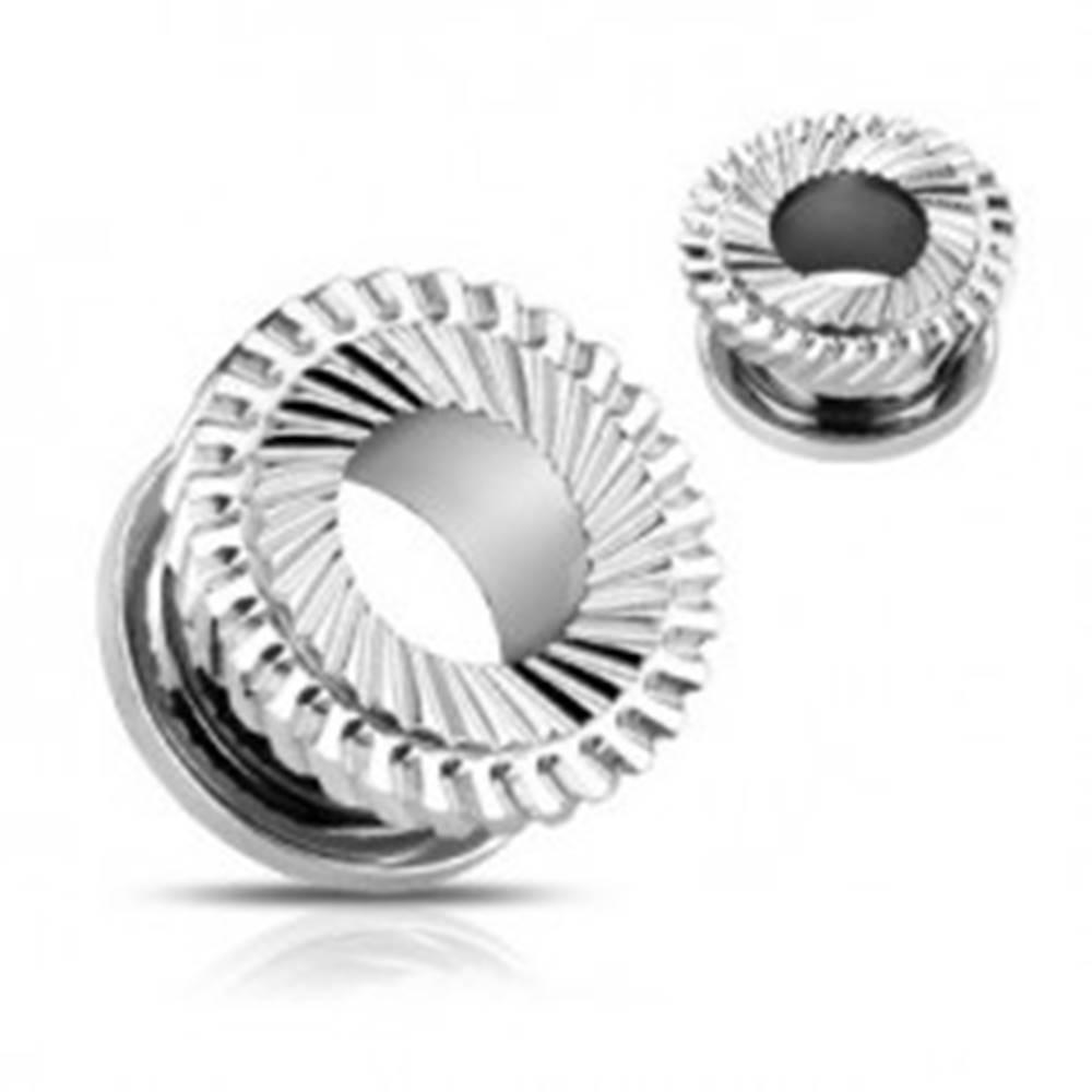 Šperky eshop Oceľový tunel do ucha - dvojité ozubené koliesko - Hrúbka: 10 mm